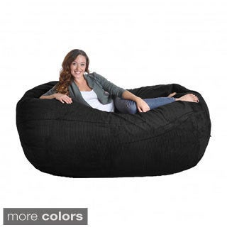 Corduroy Oval Large Microfiber Suede and Foam Bean Bag Chair