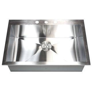 Stainless Steel Brushed Satin 33-inch Single Bowl Topmount Drop-in Zero Radius Kitchen Sink