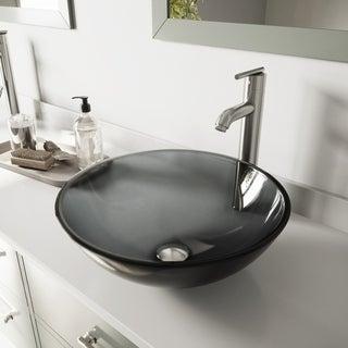VIGO Sheer Black Glass Vessel Sink and Brushed Nickel Faucet Set