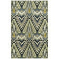 Swanky Avocado & Blue Ikat Wool Rug (7'6 x 9')