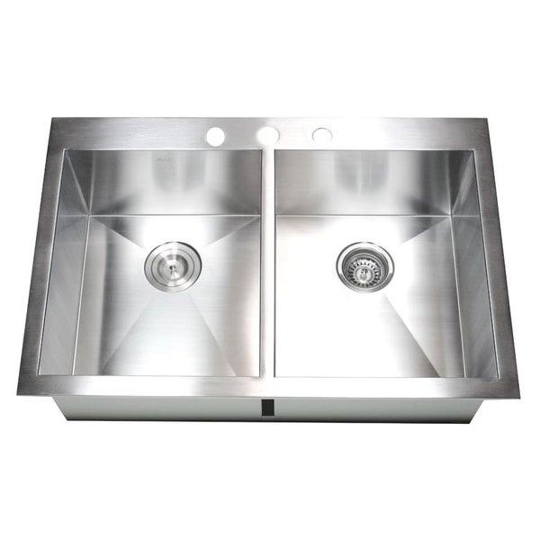 Best Stainless Steel Sinks Gauge : 36-inch 16 Gauge Stainless Steel Double Bowl Topmount Drop-in Zero ...