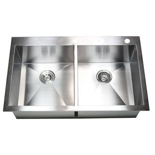 36-inch 16 Gauge Stainless Steel Double Bowl Topmount Drop-in Zero Radius Kitchen Sink