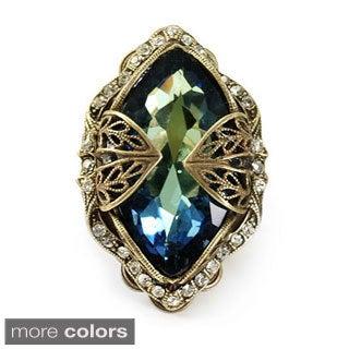 Sweet Romance Goldtone or Silvertone Aurora Navette Jewel Ring