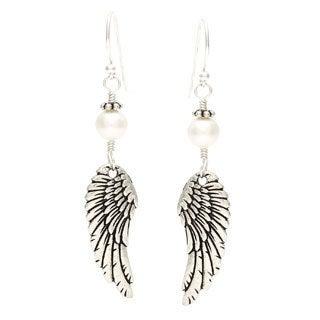 Charming Life Sterling Silver 'Archangel Wings' Freshwater Pearl Hook Earrings