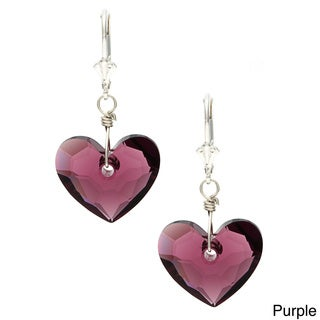 Charming Life Sterling Silver 'In Love' Heart Crystal Earrings