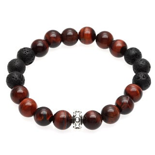 Charming Life Red Tiger's Eye and Lava Rock 'Lucky Me' Unisex Stretch Bracelet