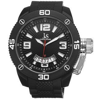 Joshua & Sons Men's Bold Quartz Date Etched Sunray Dial PU Strap Watch