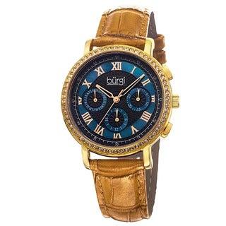 Burgi Ladies Swiss Quartz Multifunction Genuine Leather Strap Watch