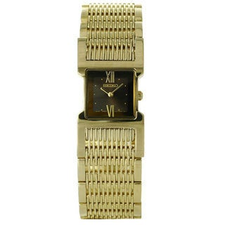 Seiko Women's Gold-tone Stainless Steel Watch with Black Dial