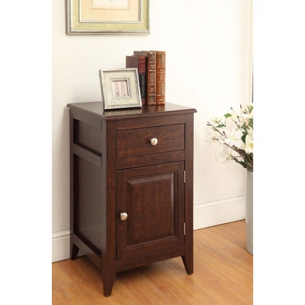 Espresso Finish Nightstand Side Table Storage Cabinet and Drawer