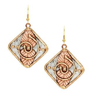 Handmade Two Copper Leaves Stainless Steel Earrings (India)