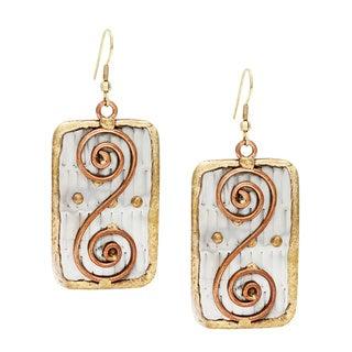Handmade Copper Swirls Stainless Steel Earrings (India)
