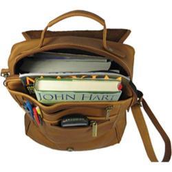 David King Leather 116 Vertical Eexpandable Portfolio Backpack Tan