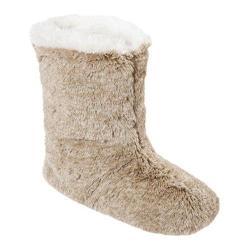 Women's Dearfoams Colorblocked Pile Boot Tan Frost
