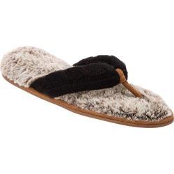 Women's Dearfoams Sweater Knit Pile Thong Black