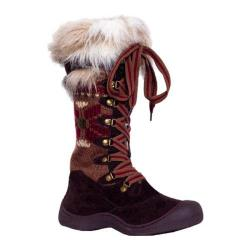 Women's MUK LUKS Gwen Tall Lace Up Snow Boot Brown Snowflake