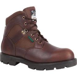 Men's Georgia Boot G105 6in Homeland Steel Toe WP Work Shoe Brown Full Grain Leather/Cordura