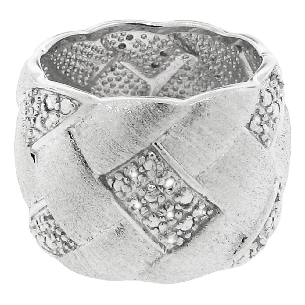 Gioelli Sterling Silver Brushed Basket Weave 1/5ct TDW Diamond Ring (H-I, I2-I3)