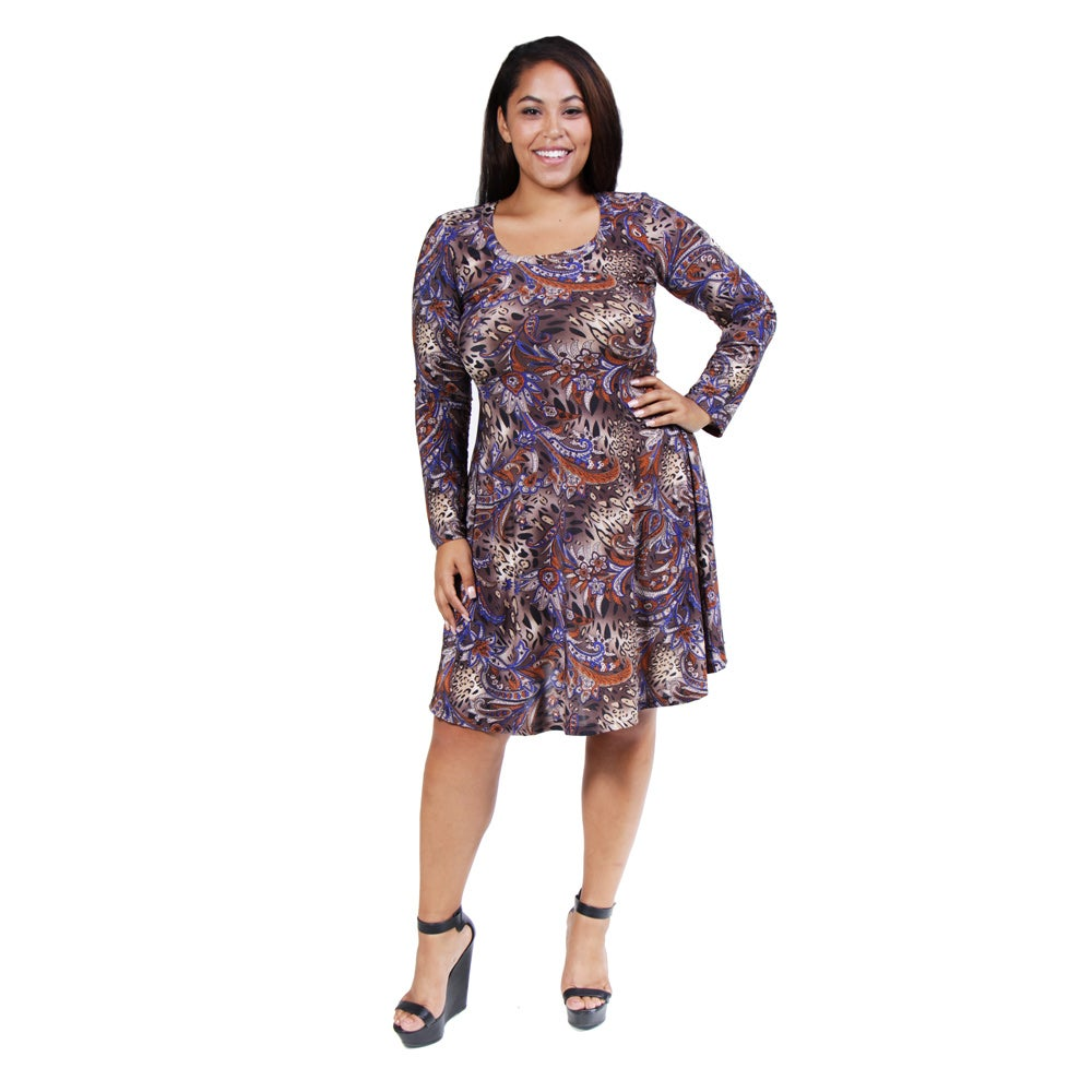 24/7 Comfort Apparel Women's Plus Size Animal/ Paisley Print Dress
