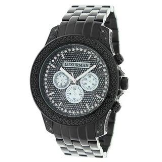 Luxurman Men's Black Stainless Steel Black Diamond Quartz Watch