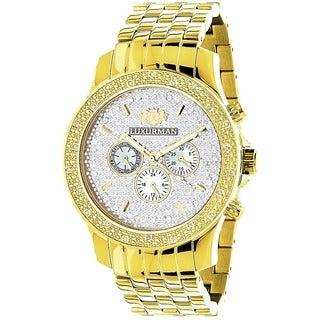 Luxurman Men's Yellow Goldtone Diamond Watch