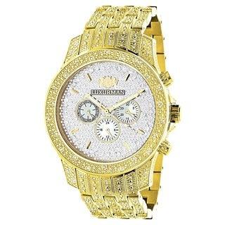 Luxurman Men's Yellow/Goldtone Diamond Watch