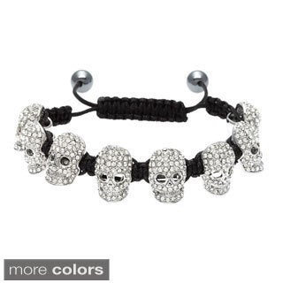 Crystal Skull Macrame Bracelet with Hematite Beads