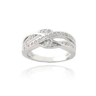 DB Designs Silvertone 1/3ct TDW Diamond Criss-cross Ring (I-J, I2-I3)