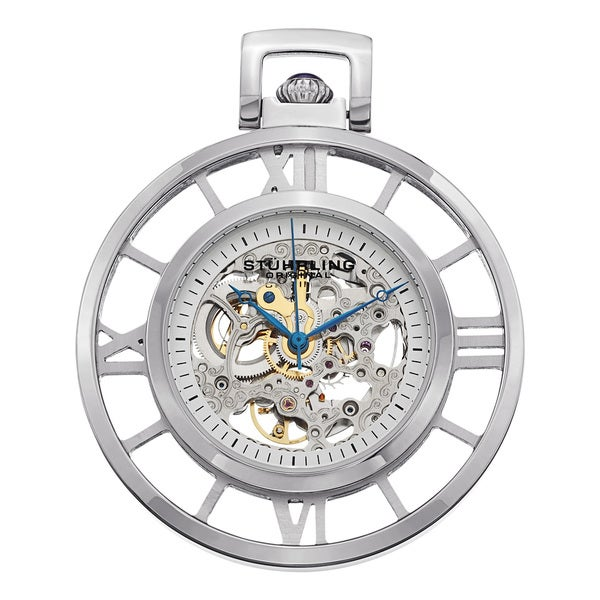 Stuhrling Original Men's Ancestor Silver Mechanical Pocket Watch