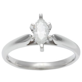 Sofia 14k White Gold 1/2ct TDW Certified 6-prong Marquise Diamond Solitaire Ring (H-I, I1)
