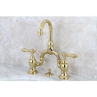 Vintage High Spout Polished Brass Bridge Bathroom Faucet
