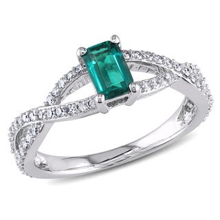 Miadora 14k White Gold Created Emerald and 3/8ct TDW Diamond Ring (G-H, I1-I2)