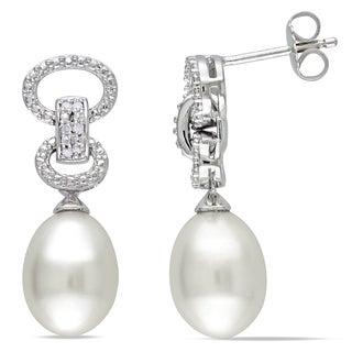 Miadora Sterling Silver Pearl and Diamond Dangle Earrings (9-9.5 mm)