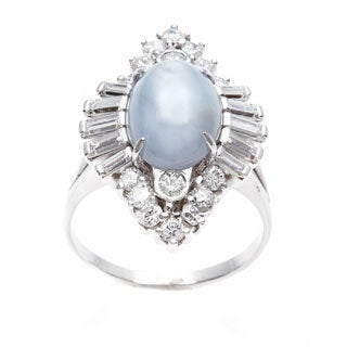 Pre-owned 18k White Gold 1 3/4ct TDW Star Sapphire Cocktail Ring (G-H, VS1-VS2)