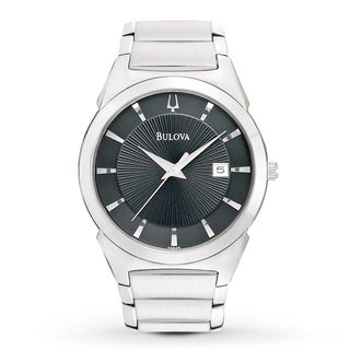 Bulova Men's 96B149 Stainless Steel Black Dress Watch