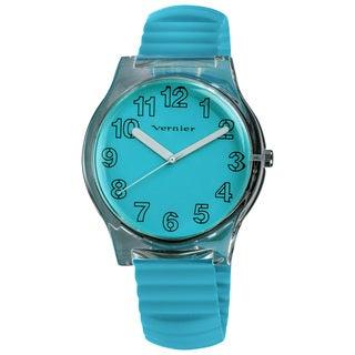 Vernier Women's Blue Stretch Silicone Watch/ Pouch Set