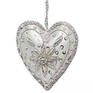 Handcrafted Beaded Shiny Silver Heart Ornament (India)