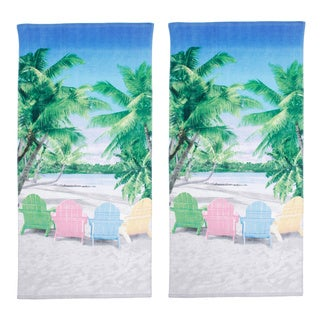 Tropical Beachfront Chairs Beach Towel Set of 2