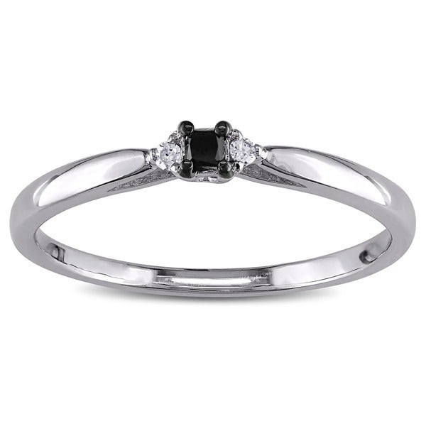 Haylee Jewels Sterling Silver Black and White Diamond Promise Ring Overstoc