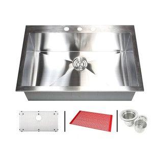 Stainless Steel 33-inch Single Bowl Topmount Drop-in Zero Radius Kitchen Sink with Combo Accessories