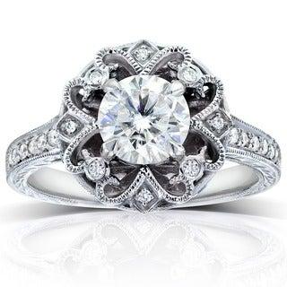 Annello 14k Gold Moissanite and 1/5ct TDW Diamond Antique-style Engagement Ring (G-H, I1-I2)