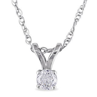 Haylee Jewels 14k Gold 1/10ct TDW Diamond Solitaire Necklace (J-K, I2-I3)