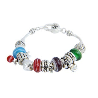 PearlPerri Cherry Beads and Hearts Charming Bracelet