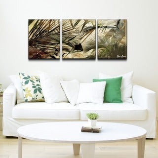 Alexis Bueno 'Abstract Palms' 3-piece Canvas Wall Art Set