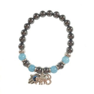 Hematite and Larimar Protection From Negativity Bracelet