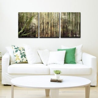 Alexis Bueno 'Bamboo Abstraction' 3-piece Oversized Canvas Wall Art