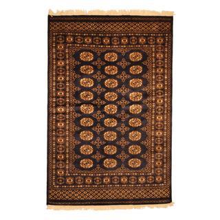 Pakistan Hand-knotted Prince Bokhara Blue/ Ivory Wool Rug (4' x 6')