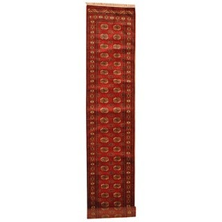 Pakistan Hand-knotted Prince Bokhara Red/ Ivory Wool Rug (2'6 x 13')