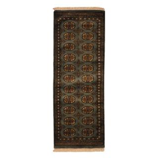Pakistan Hand-knotted Prince Bokhara Grey/ Ivory Wool Runner Rug (2' x 6')