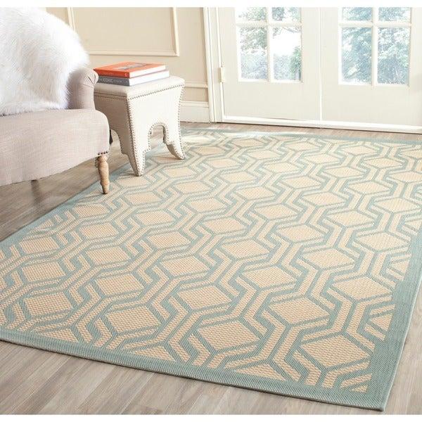 Safavieh indoor outdoor courtyard beige aqua rug 8 39 x for 7x9 bathroom designs
